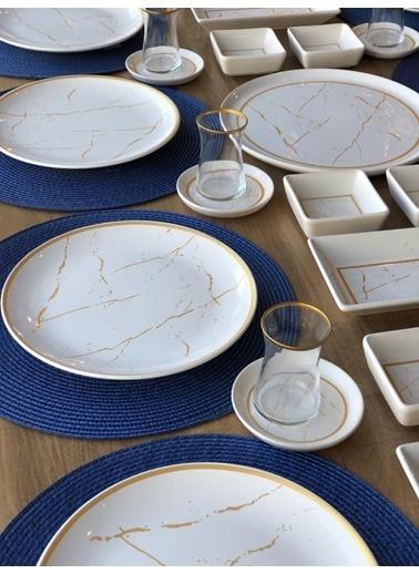 ROSSEV Kahvaltı Takımı Beyaz Mermer 61 Parça 12 Kişilik Renkli